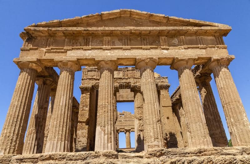 Temple of Concordia, It is the largest and best-preserved Doric temple in Sicily, Agrigento, Italy. Temple of Concordia, It is the largest and best-preserved stock photo
