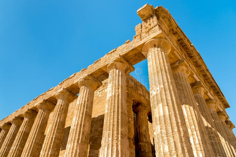 Temple of Concordia, located in the park of the Valley of the Temples in Agrigento, Sicily stock photos