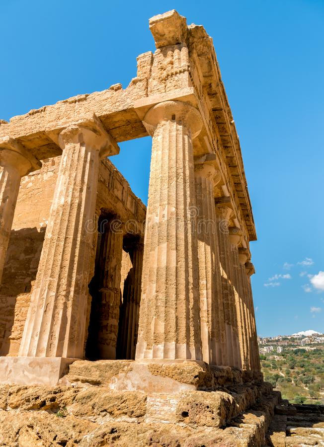 Temple of Concordia, located in the park of the Valley of the Temples in Agrigento, Sicily royalty free stock photos