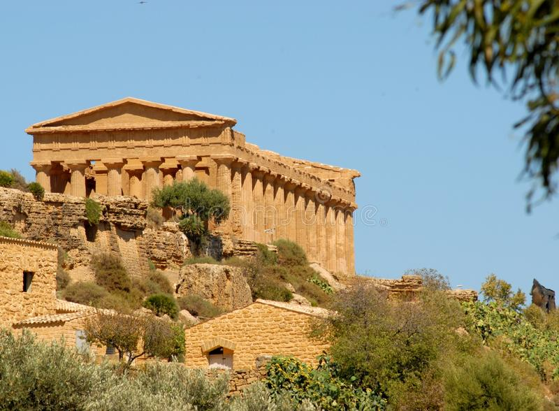 Temple of Concordia in the Valley of the Temples in Sicily royalty free stock photography