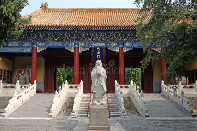 Temple of Confucius, Beijing, China. A temple of Confucius or Confucian temple is a temple for the veneration of Confucius and the sages and philosophers of stock photo