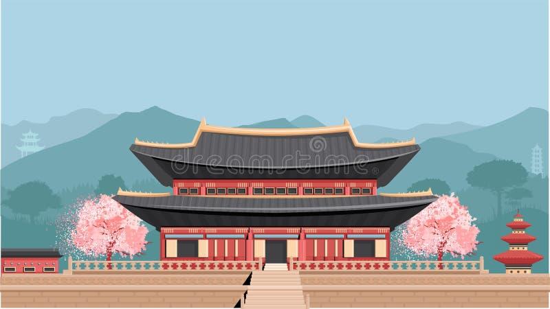 Temple coréen avec des montagnes illustration libre de droits