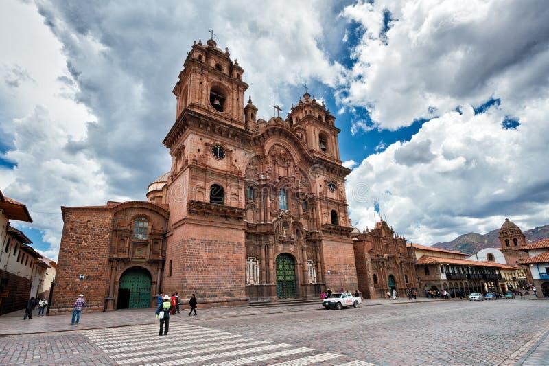 Temple d'église de la société de Jésus de Cuzco images stock