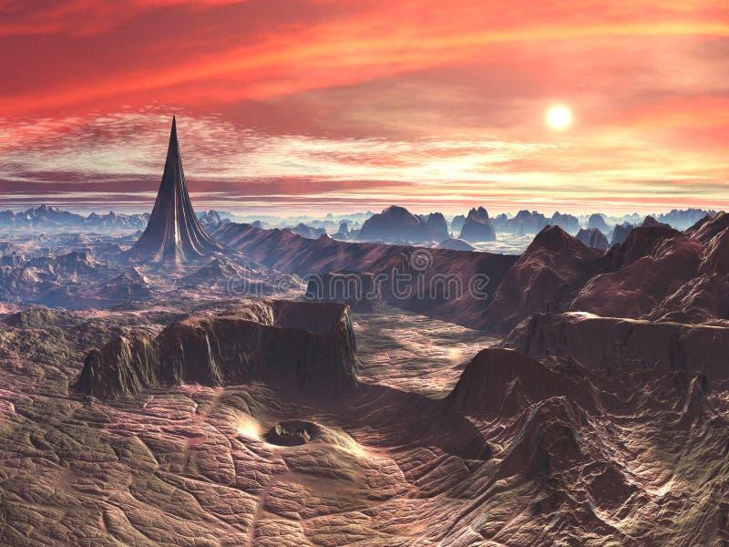 Temple d'étoile et abîme de vortex sur le monde étranger de désert illustration stock