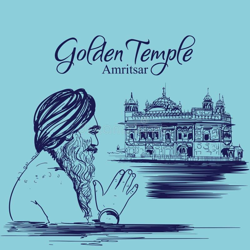 Temple d'or Amritsar Pendjab Inde culte sikh d'homme de gourou d'illustration heureuse de purab illustration libre de droits