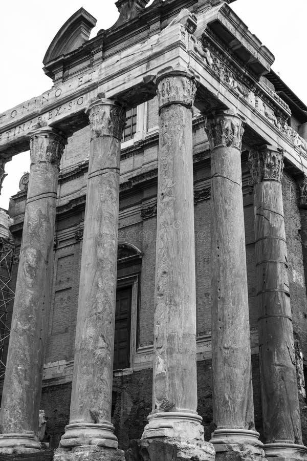 Temple d'Antoninus et de Faustina images libres de droits