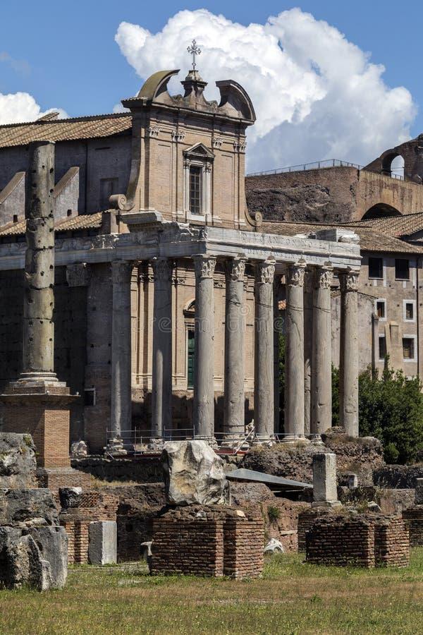 Temple d'Antoninus et Faustina - Roman Forum - Rome - l'Italie image libre de droits