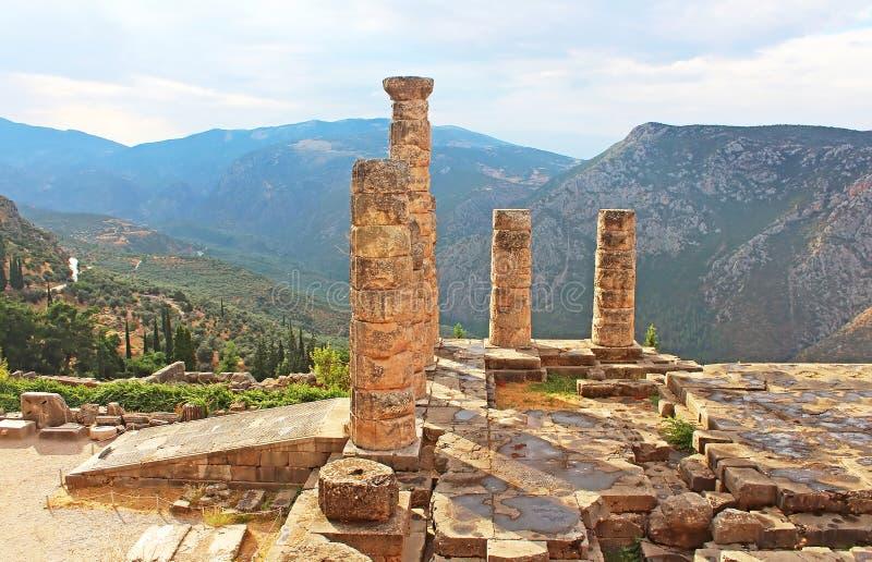 Temple d'Apollo à Delphes, Grèce photos stock