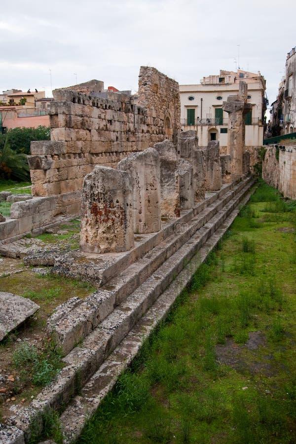 Temple d'Apollo Siracusa - en Sicile photos stock