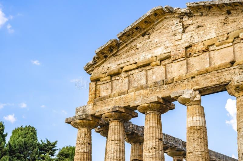 Temple d'Athéna chez Paestum en Italie image libre de droits