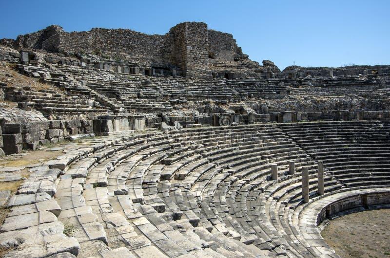 Temple d'Athéna de ville du grec ancien de Priene, T image stock