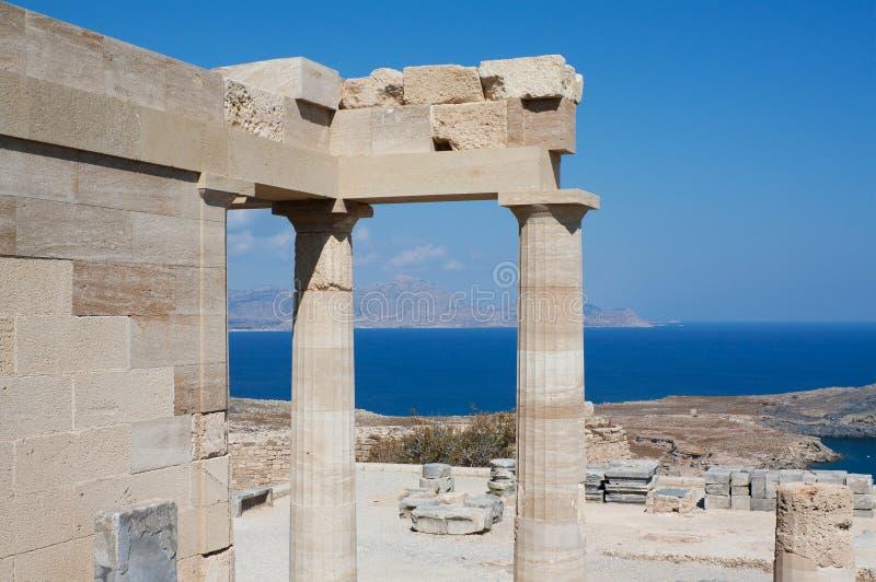 Temple d'Athéna Lindia chez Lindos, Rhodes, Grèce images libres de droits