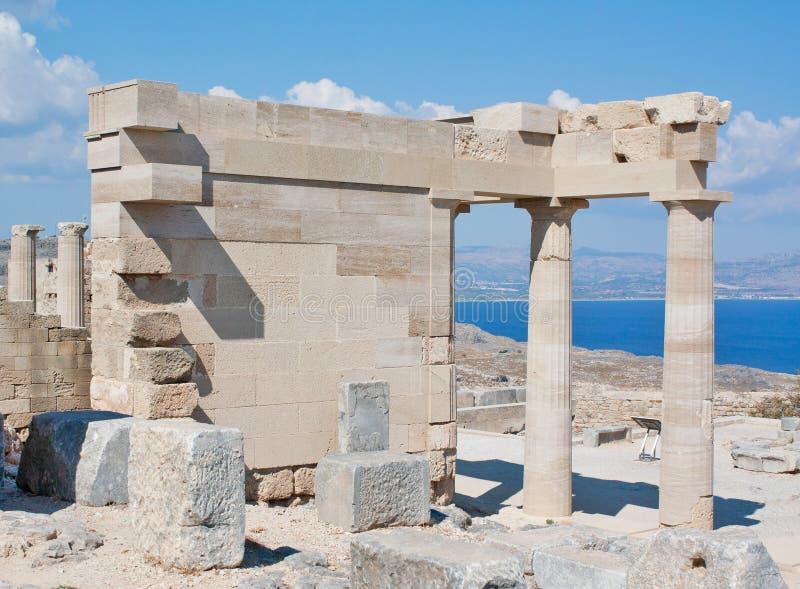 Temple d'Athéna, Lindos, Rhodes, Grèce image libre de droits