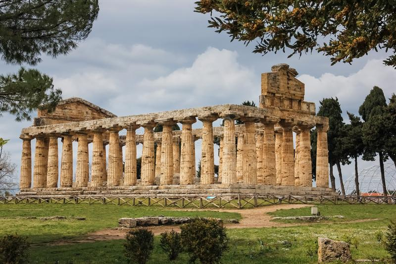 Temple d'Athéna Paestum salerno Campanie l'Italie photo libre de droits