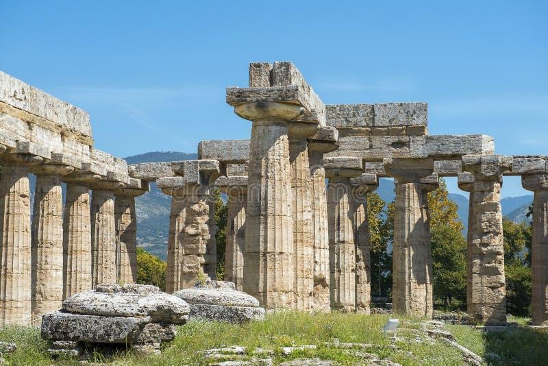 Temple d'Athena Minerva dans Poseidonia Paestum, Campanie, Italie photographie stock