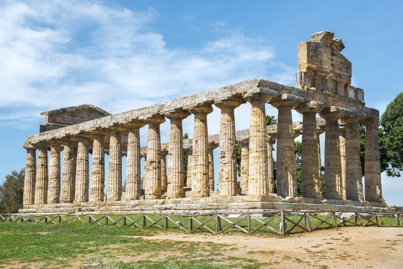 Temple d'Athena Minerva dans Poseidonia Paestum, Campanie, Italie images libres de droits