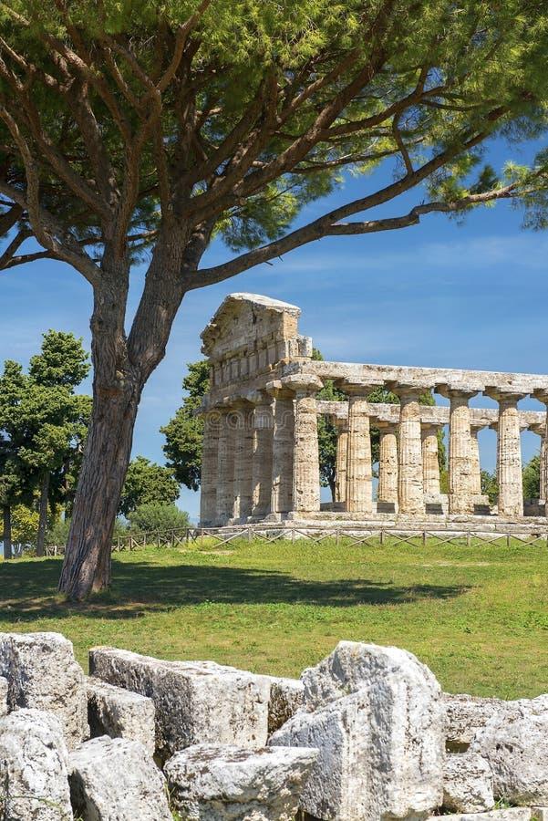 Temple d'Athena Minerva dans Poseidonia Paestum, Campanie, Italie photographie stock libre de droits