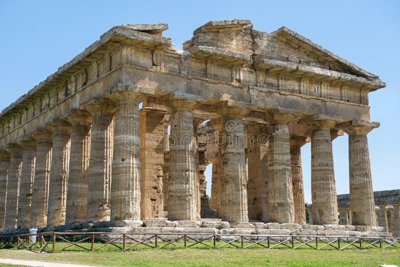 Temple d'Athena Minerva dans Poseidonia Paestum, Campanie, Italie images stock
