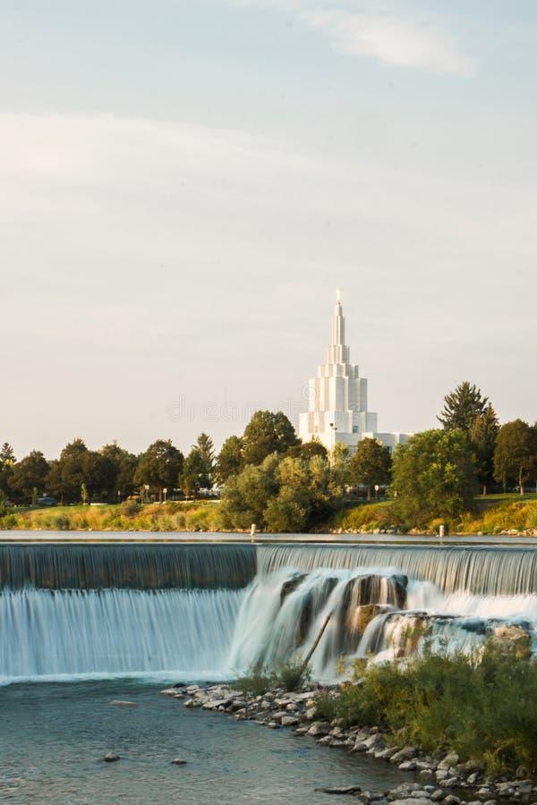 Temple d'automnes de LDS Idaho photo stock