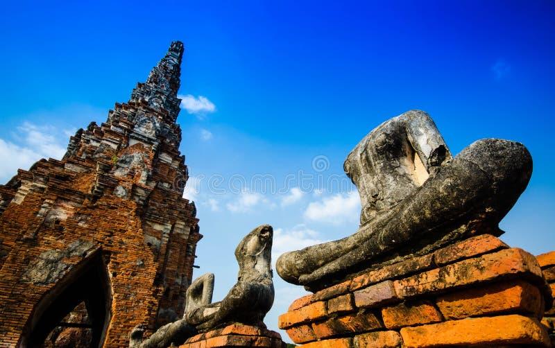 Temple d'Ayutthaya et site historique en Thaïlande images libres de droits