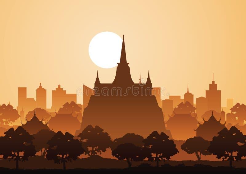 Temple d'or de montagne ou Saket, point de repère célèbre de la Thaïlande, silh illustration de vecteur