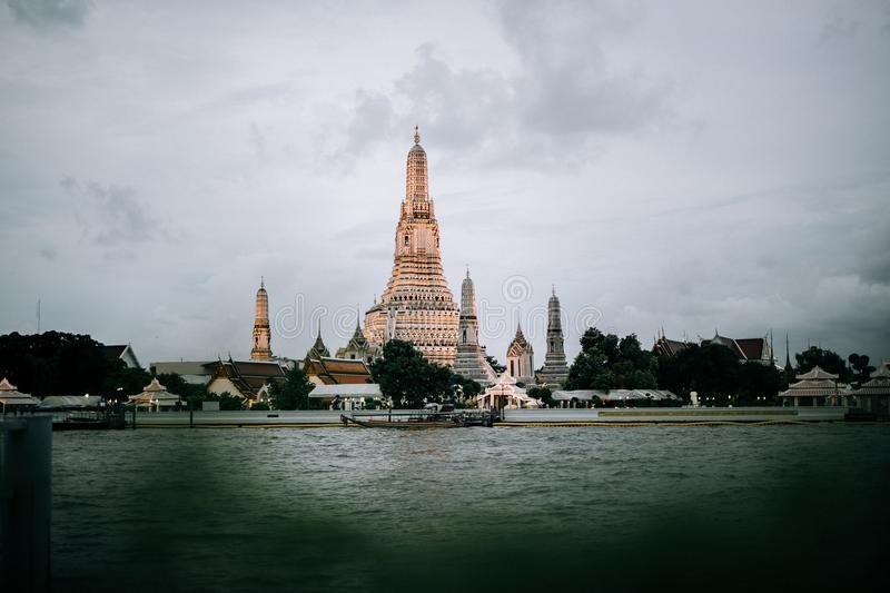 Temple of dawn one of the famous temple in Bangkok royalty free stock images