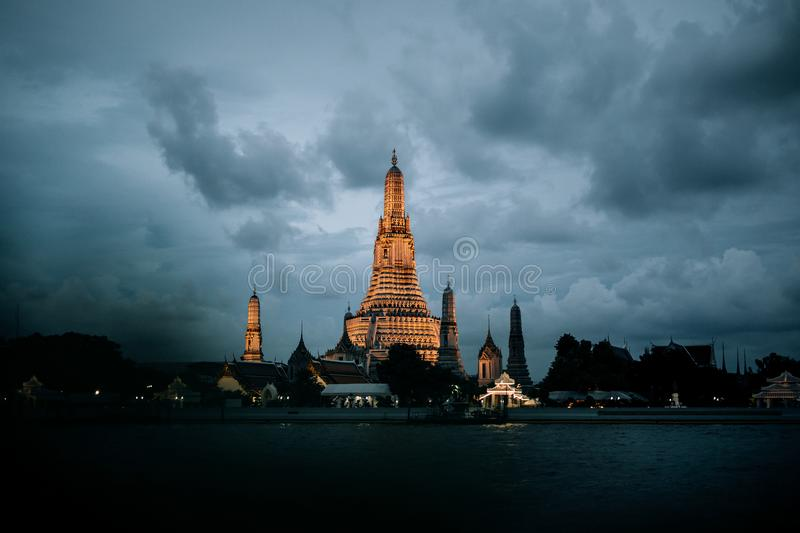 Temple of dawn one of the famous temple in Bangkok royalty free stock image