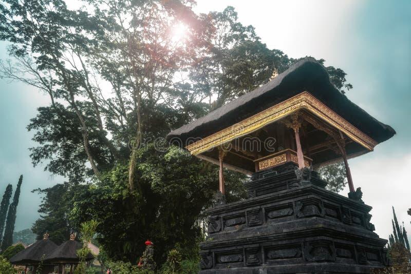 Temple de Bali parmi l'arbre luxuriant vert et la forêt tropicale images stock