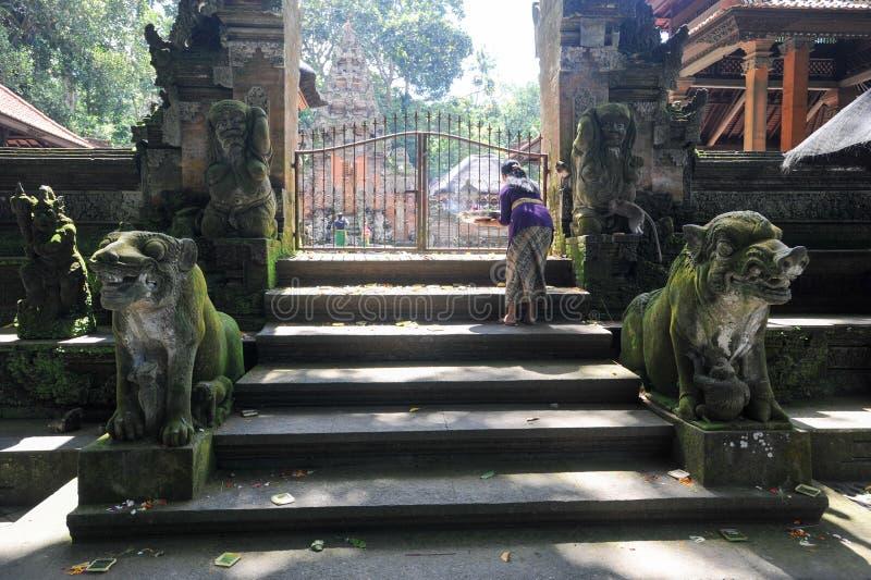 Temple de Balinese dans la forêt sacrée de singe d'Ubud sur Bali photographie stock libre de droits