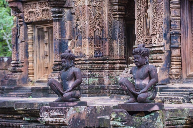 Temple de Banteay Srei au Cambodge images libres de droits