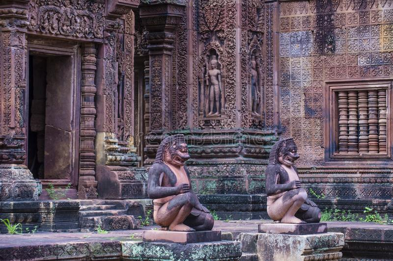 Temple de Banteay Srei au Cambodge image stock