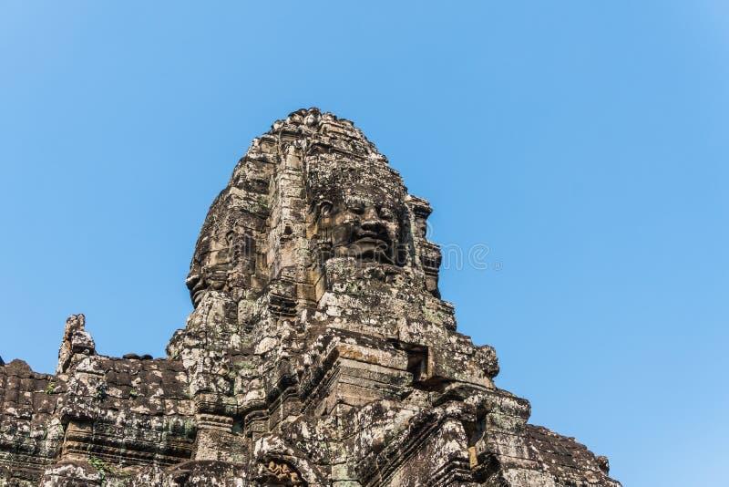 Temple de bayon de pierre de visage de sourire à Angkor Thom Siem Reap Cambodge image libre de droits