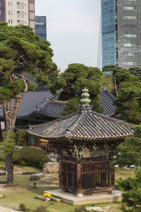 Temple de Bongeunsa dans le district de Gangnam de Séoul, Corée images libres de droits