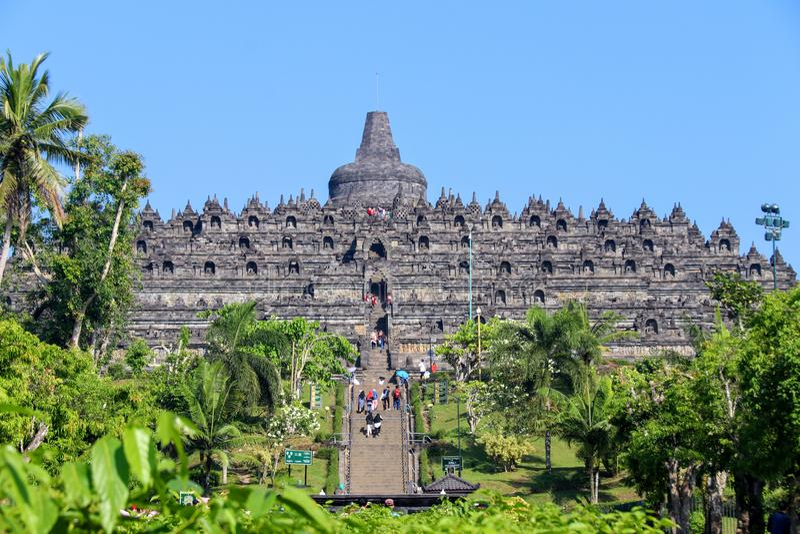 Temple de Borobudur à Yogyakarta, Java, Indonésie photos stock