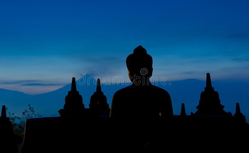 Temple de Borobudur au lever de soleil, Java, Indonésie photos stock