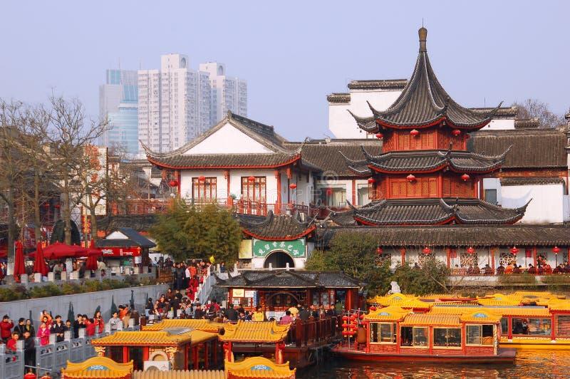 Temple de Confucius de ville de NanJing image stock
