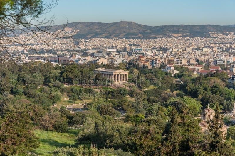 Temple de Hephaestus dans l'agora antique à Athènes, Grèce photo stock