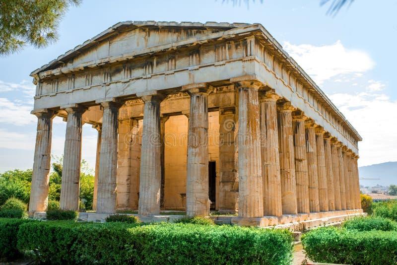 Temple de Hephaistos en agora près d'Acropole images libres de droits