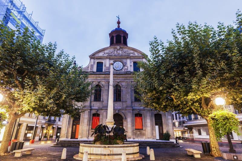 Temple de La Fusterie in Geneva stock image