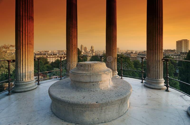 Temple de la Sibylle in the Parc des Buttes-Chaumont. The Parc des Buttes-Chaumont in Paris royalty free stock image