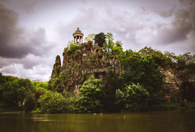Temple de la Sibylle in the Parc des Buttes Chaumont in Paris, France. stock images