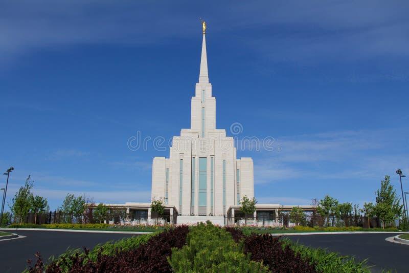 Temple de montagne d'Oquirrh photographie stock libre de droits