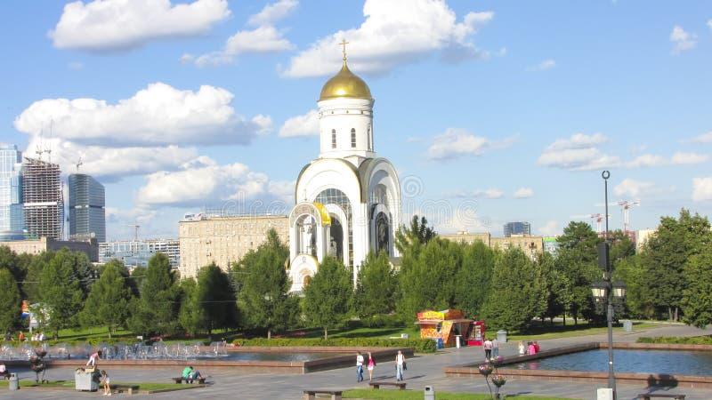 Temple de Moscou de St George le victorieux sur Poklonnaya Hil images libres de droits