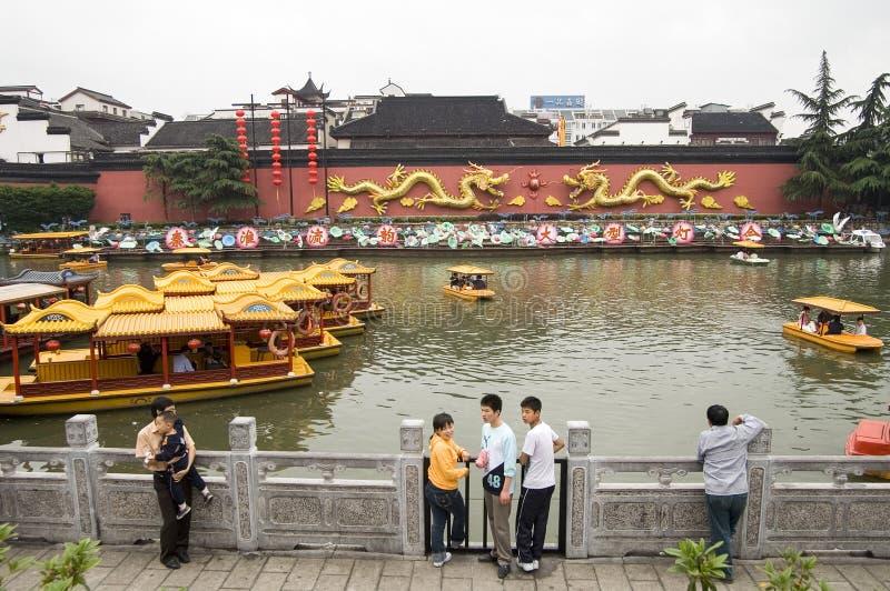 Temple de Nanjing City Confucius Traditionnel, porcelaine photo stock