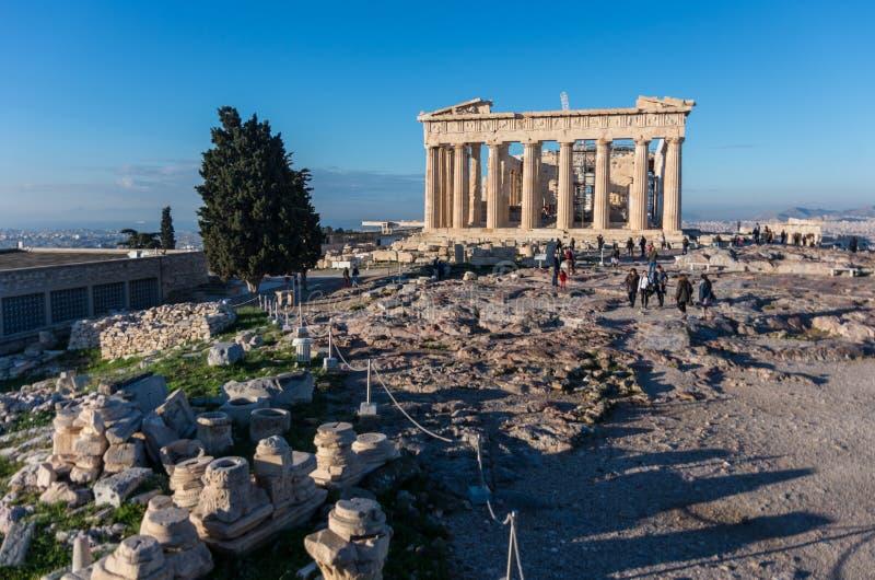 Temple de parthenon un jour lumineux Acropole à Athènes image libre de droits
