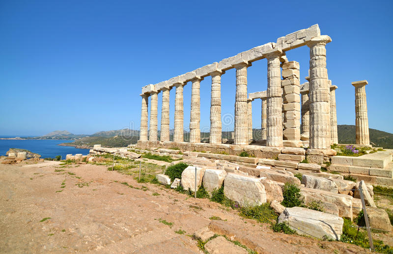 Temple de Poseidon au cap Sounion Grèce photo libre de droits