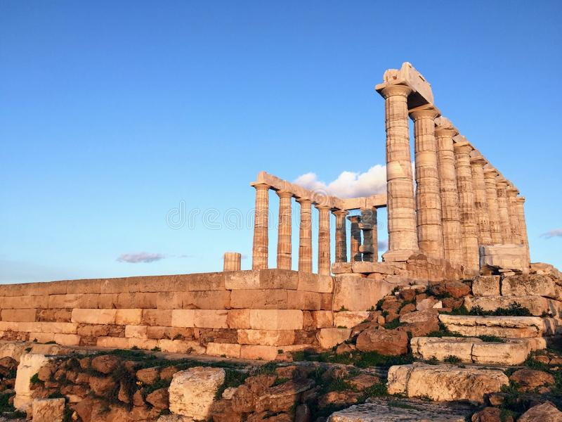 Temple de Poseidon au cap Sounion photographie stock libre de droits