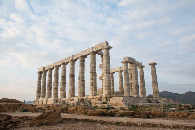 Temple de Poseidon Coucher du soleil, Sounion, Gr?ce photographie stock libre de droits
