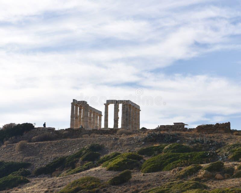 Temple de Poseidon sur le cap Sounion photo libre de droits
