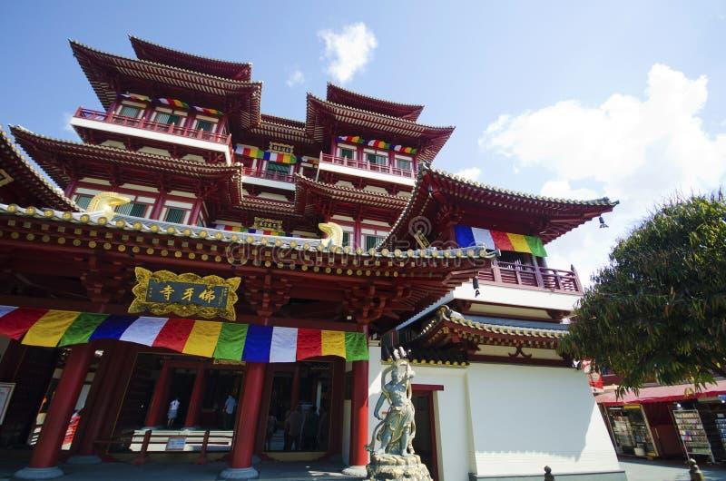 Temple de relique de dent de Bouddha dans la ville de la Chine, Singapour image stock